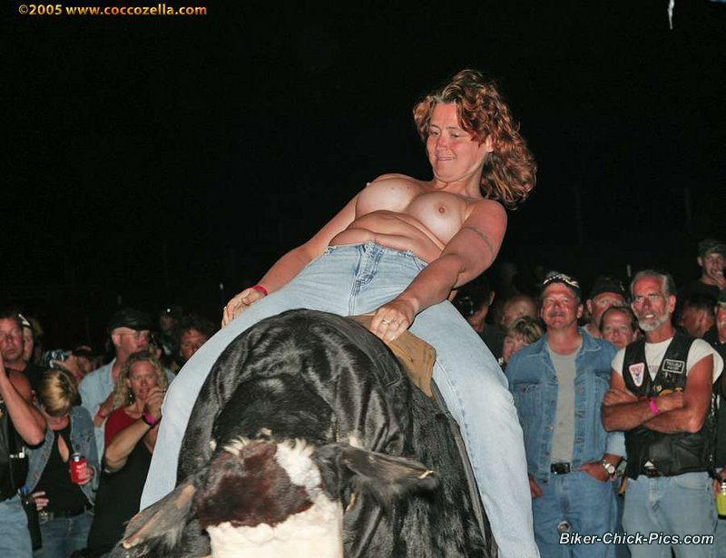 Topless bull riding