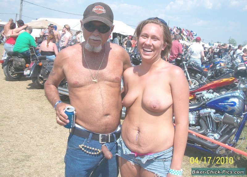 Topless girl at motorcycle rally